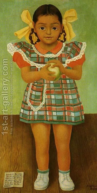 Portrait of the Young Girl Elenita Carrillo Flores (Retrato de la nina Elenita Carrillo Flores) 1952 by Diego Rivera - Reproduction Oil Painting