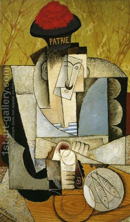 Sailor at Breakfast (Marinero almorzando) 1914 by Diego Rivera - Reproduction Oil Painting
