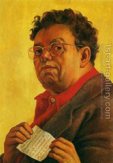 Self Portrait Dedicated to Irene Rich (Autorretrato dedicado a Irene Rich) 1941 by Diego Rivera - Reproduction Oil Painting