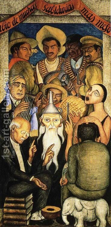 The Learned Banquet 1928 by Diego Rivera - Reproduction Oil Painting