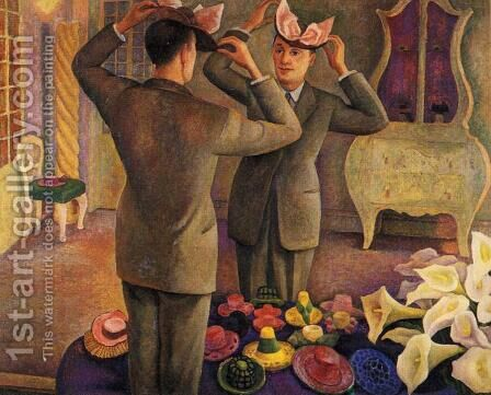 The Milliner Potrait of Henri de Chatillon 1944 by Diego Rivera - Reproduction Oil Painting