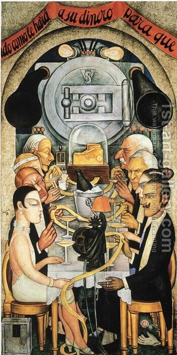 Wall Street Banquet 1928 by Diego Rivera - Reproduction Oil Painting