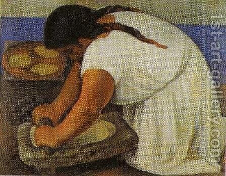 Woman Grinding Maize 1924 (La molendera) by Diego Rivera - Reproduction Oil Painting