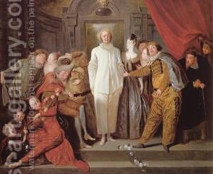 Les Comediens italiens by Jean-Antoine Watteau - Reproduction Oil Painting