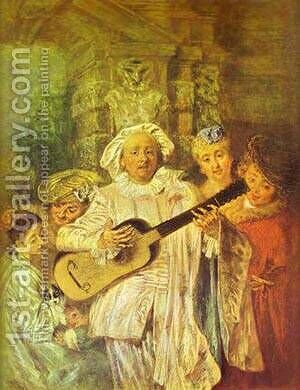 Sous Un Habit De Mezetin 1717 by Jean-Antoine Watteau - Reproduction Oil Painting