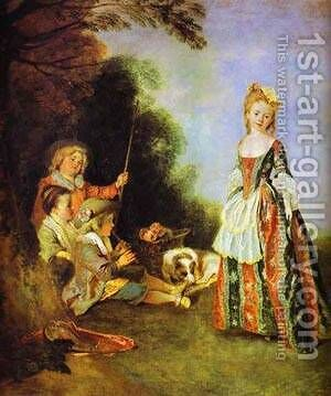 The Dance Detail 1719 by Jean-Antoine Watteau - Reproduction Oil Painting