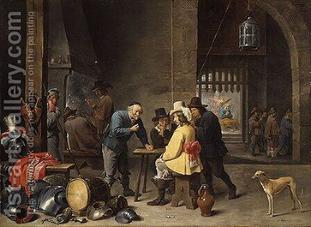 Guardroom with the Deliverance of Saint Peter ca 1645 by David The Younger Teniers - Reproduction Oil Painting