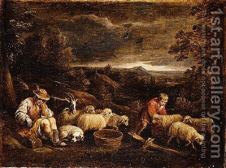 Shepherds and Sheep by David The Younger Teniers - Reproduction Oil Painting