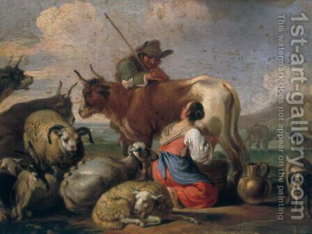 Milking Shepherds by Carl Christian Frederik Jacob Thomsen - Reproduction Oil Painting