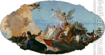 The Glorification of the Barbaro Family ceiling decoration ca. 1750 by Giovanni Battista Tiepolo - Reproduction Oil Painting