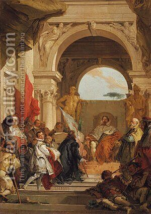 The Investiture of Bishop Harold as Duke of Franconia sketch ca 1751 by Giovanni Battista Tiepolo - Reproduction Oil Painting