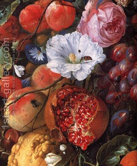 Festoon of Fruit and Flowers (detail) 1660 by Jan Davidsz. De Heem - Reproduction Oil Painting