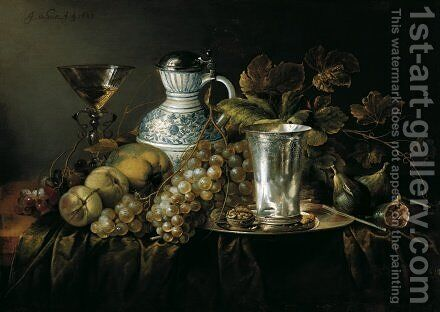 Fruit Still Life with a Silver Beaker 1648 by Jan Davidsz. De Heem - Reproduction Oil Painting