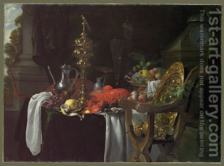 Still Life A Banqueting Scene 1670s by Jan Davidsz. De Heem - Reproduction Oil Painting