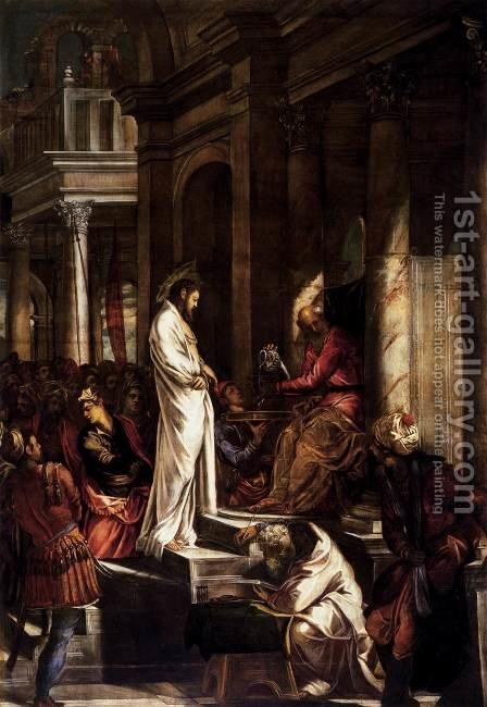 Christ Before Pilate 1566-67 by Jacopo Tintoretto (Robusti) - Reproduction Oil Painting