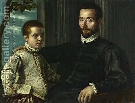 Portrait of a Nobleman with his Son by Jacopo Tintoretto (Robusti) - Reproduction Oil Painting