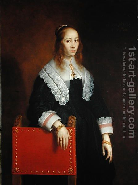 A Young Woman 1643 by Bartholomeus Van Der Helst - Reproduction Oil Painting