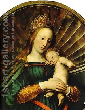 Meyer Madonna Detail 1 1526 by Hans, the Younger Holbein - Reproduction Oil Painting