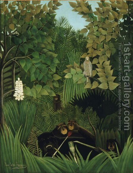 The Monkeys 1906 by Henri Julien Rousseau - Reproduction Oil Painting