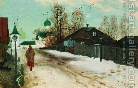 Mikhailovsky Street In Novgorod 1899 by Andrei Petrovich Ryabushkin - Reproduction Oil Painting