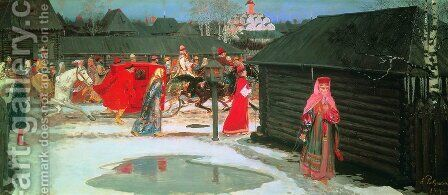 Wedding Train In The  XVII Century Moscow 1901 by Andrei Petrovich Ryabushkin - Reproduction Oil Painting