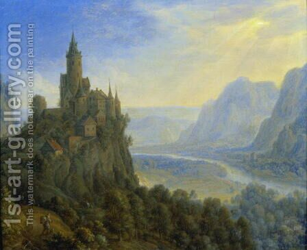 Mountainous landscape with a castle by Cornelis Saftleven - Reproduction Oil Painting