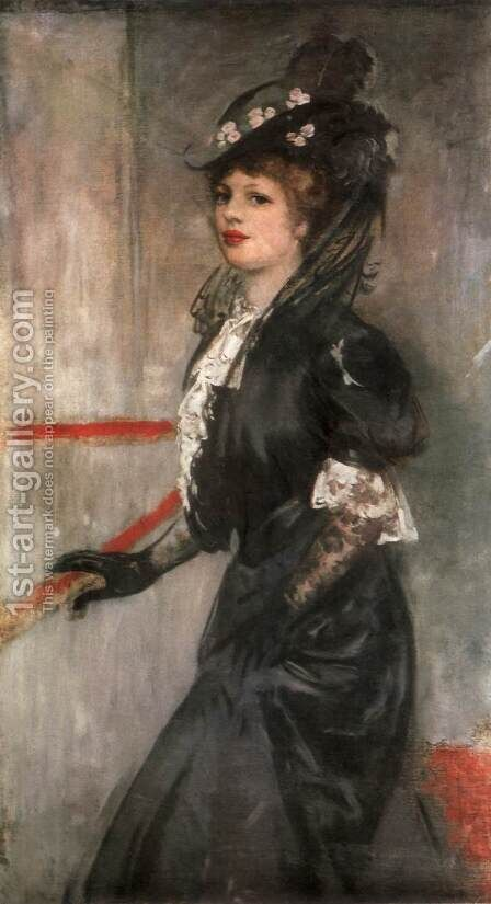 Portrait of the Painter's Wife c 1903 by Istvan Csok - Reproduction Oil Painting