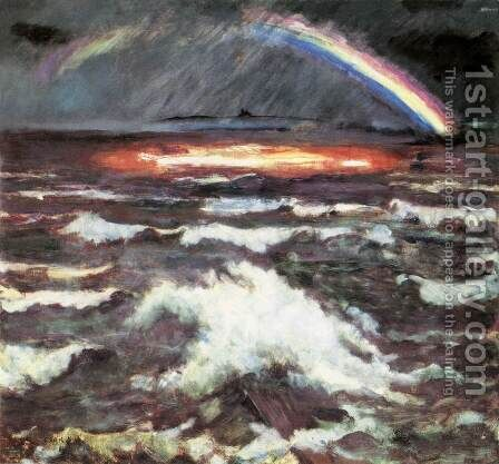 Rainbow over Lake Balaton 1930 by Istvan Csok - Reproduction Oil Painting