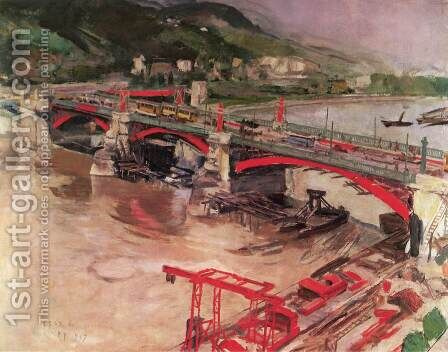 Rebuilding Margaret Bridge 1937 by Istvan Csok - Reproduction Oil Painting