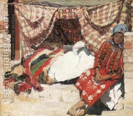Sleeping Shokatz Woman 1907 by Istvan Csok - Reproduction Oil Painting