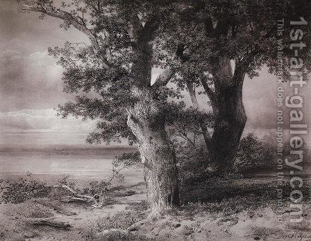 Oaks On River Bank 1867 by Alexei Kondratyevich Savrasov - Reproduction Oil Painting