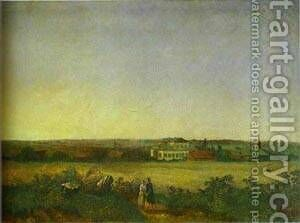 View In The Vicinity Of Moscow With A Mansion And Two Female Figures 1850 by Alexei Kondratyevich Savrasov - Reproduction Oil Painting