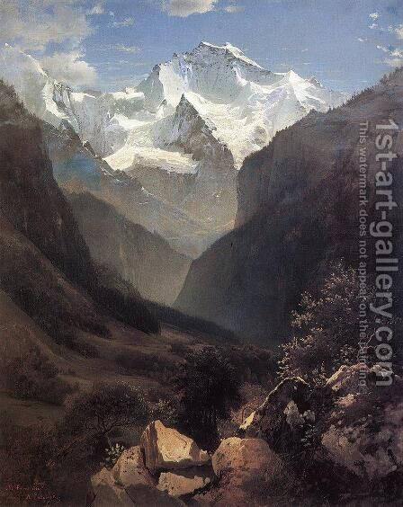 View Of The Swiss Alps From Interlaken 1862 by Alexei Kondratyevich Savrasov - Reproduction Oil Painting