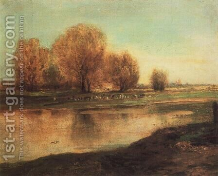 Willows By A Pond 1872 by Alexei Kondratyevich Savrasov - Reproduction Oil Painting