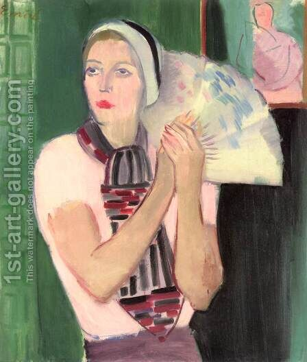 Laura with a Fan by Attila Sassy - Reproduction Oil Painting