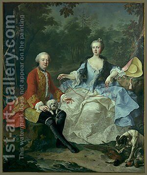 Count Giacomo Durazzo in the Guise of a Huntsman with His Wife probably early 1760s by Martin II Mytens or Meytens - Reproduction Oil Painting