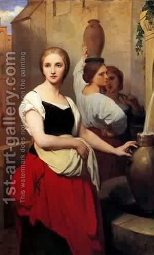 Margaret at the Fountain 1852 by Antoine Rivalz - Reproduction Oil Painting