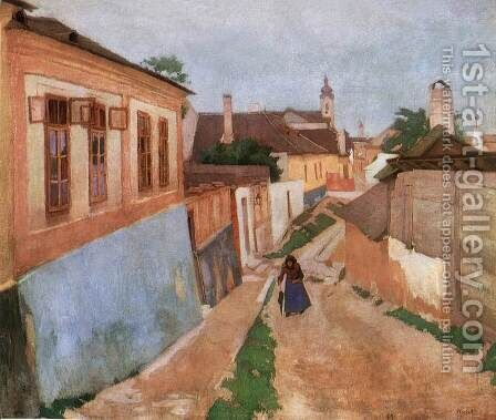 A Street at Vac 1904 by De Lorme and Ludolf De Jongh Anthonie - Reproduction Oil Painting
