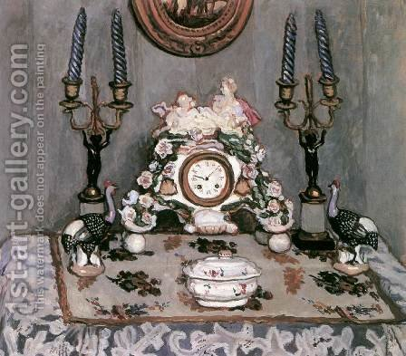 Still-life with China Clock 1910 by De Lorme and Ludolf De Jongh Anthonie - Reproduction Oil Painting