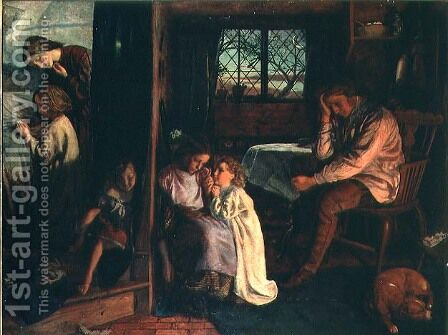 Bedtime 1862 by Arthur Hughes - Reproduction Oil Painting