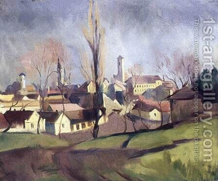 Szentendre Viewed from the Hillside 1934 by Bela Kadar - Reproduction Oil Painting