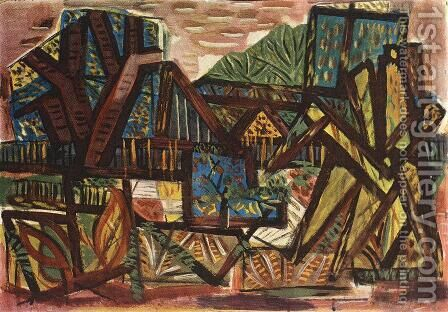 Landscape at Bekasmegyer 1947 by Janos Pirk - Reproduction Oil Painting