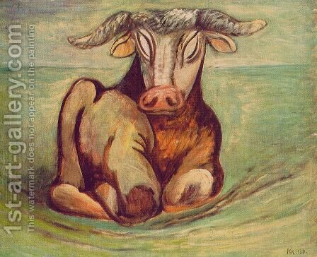 Bull I 1930 by Bela Onodi - Reproduction Oil Painting