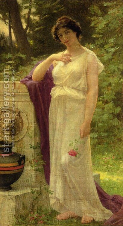 Young Woman with a Rose by Guillaume Seignac - Reproduction Oil Painting