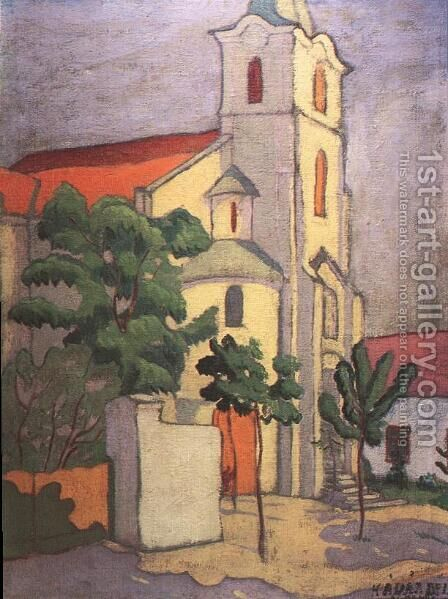 Church at Nagybanya 1910 by Aurel Bernath - Reproduction Oil Painting