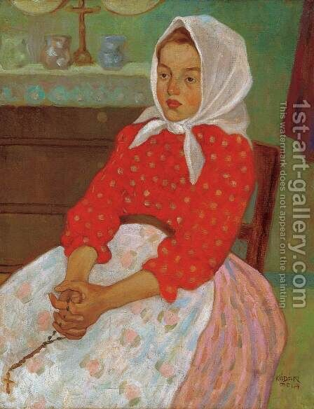 Girl with Headscarf by Aurel Bernath - Reproduction Oil Painting