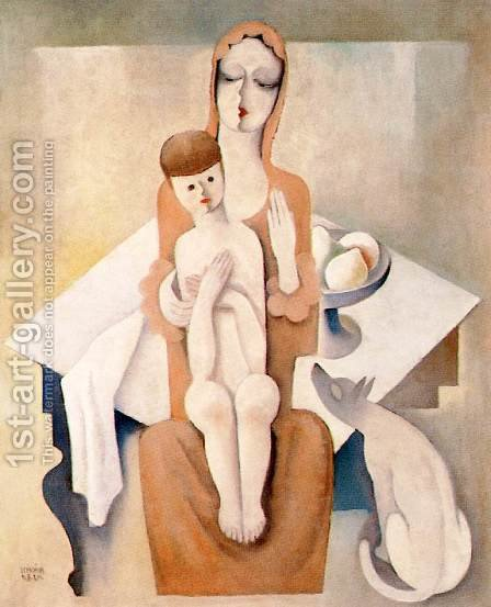 Mother with Child 1930 2 by Aurel Bernath - Reproduction Oil Painting