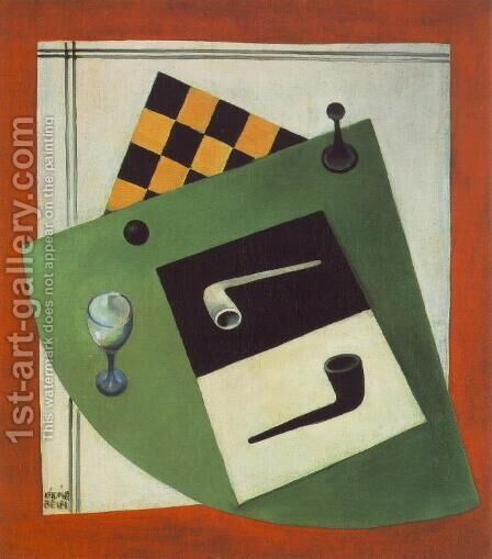 Still life with Chessboard and Pipe 1920 by Aurel Bernath - Reproduction Oil Painting