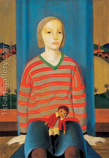 Lower Class Girl 1930 by Bela Czobel - Reproduction Oil Painting
