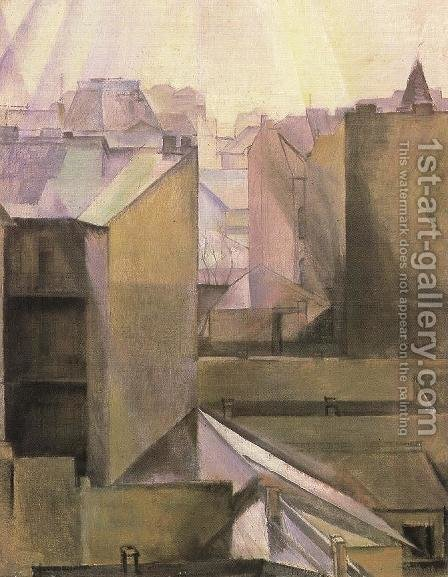 Walls in Buda 1920 by Hugo Scheiber - Reproduction Oil Painting